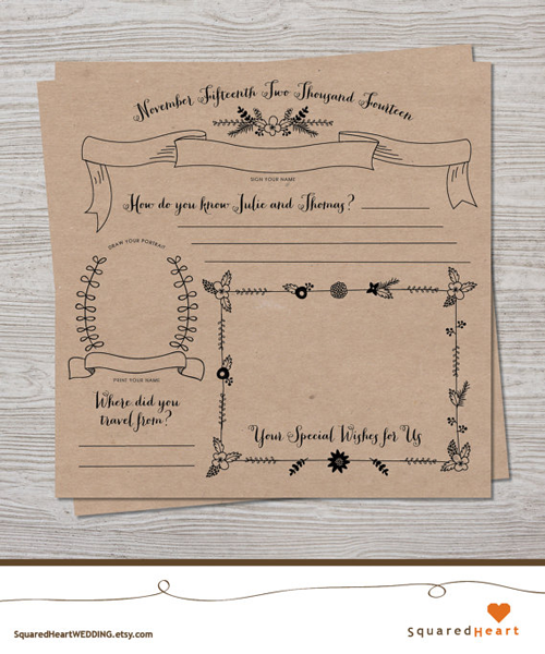 Wedding Guest Book Pages